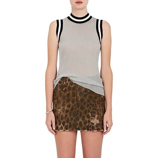 Rag & Bone Women's Priya Tank ($295) ❤ liked on Polyvore featuring tops, silver, sports tank tops, striped tank, stripe tank, striped mock turtleneck and brown tank top