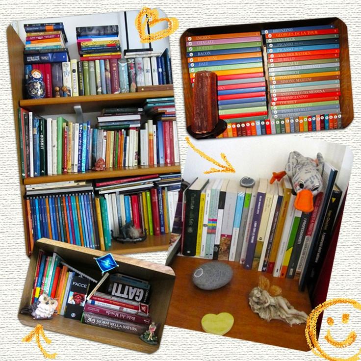La nostra esperta di libri illustrati, e illustratrice, i libri li tiene in tanti posti diversi. Ecco un mix di foto, ma proprio non ha resistito, a disegnarci sopra!