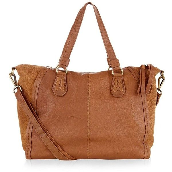 New Look Tan Leather Slouch Tote Bag ($65) ❤ liked on Polyvore featuring bags, handbags, tote bags, tan, zip top tote, brown leather tote, brown tote bags, brown leather handbags and tan leather tote