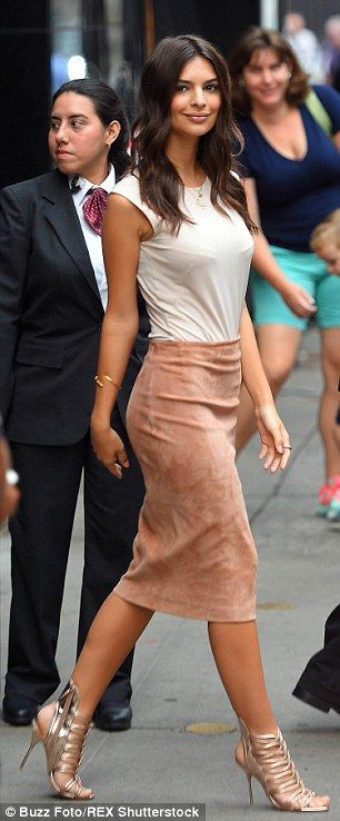 In style: For her breakfast TV appearance the Blurred Lines star wore a pencil skirt and c...