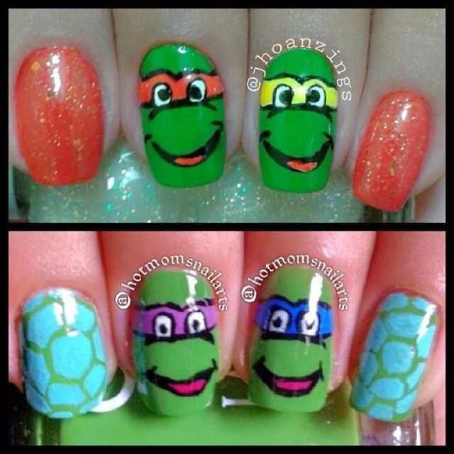 """""""#BestieTwinNails time with my Best Bud @hotmomsnailarts that i miss so much! we did a Ninja Turtle nails inspired by @lovepurplepolish mine is Michael Angelo and Raphael. Happy Tuesday Everyone ☺ muah! #nailart #cutemani #pinay #igersph #nailartlover #nailpromote #nailporn #nailswag #ilovenails"""" Photo taken by @jhoanzings on Instagram, pinned via the InstaPin iOS App! http://www.instapinapp.com (08/05/2014)"""