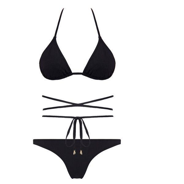 Melissa Odabash Acapulco Black Triangle Bikini (€60) ❤ liked on Polyvore featuring swimwear, bikinis, bikini, black, triangle swimwear, triangle swimsuit top, tie bikini top, triangle swim top and triangle bikini swimwear