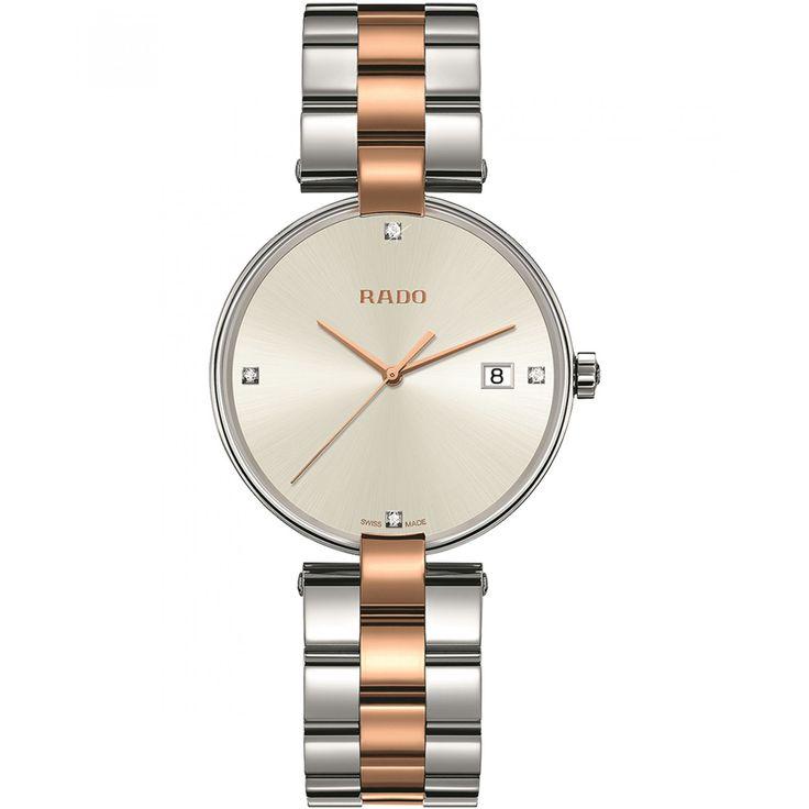 Reloj Rado con caja y bisel de acero inoxidable en tono plata extensible de brazalete de tres líneas a dos tonos carátula blanca con manecillas a contraste y aplicación de diamantes.