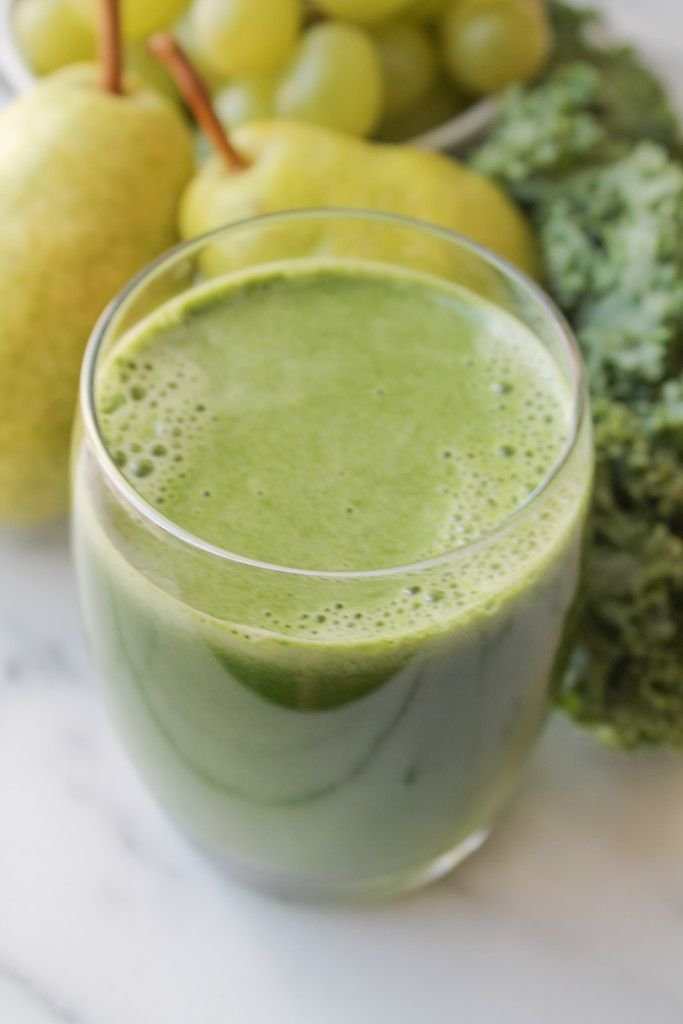 Green Juice. Kale, pear and grapes make for a Green Juice that is sweet and palatable.