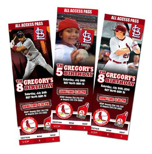 St Louis Cardinals Birthday Party Invitations baseball photo cards any team baby 1st first - Digital File