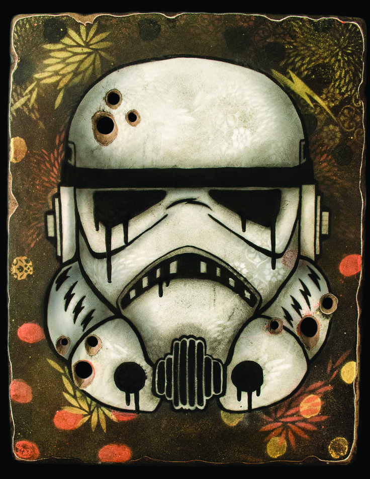 """Misconceived Trooper"" Spray paint and acrylic on wood panel."
