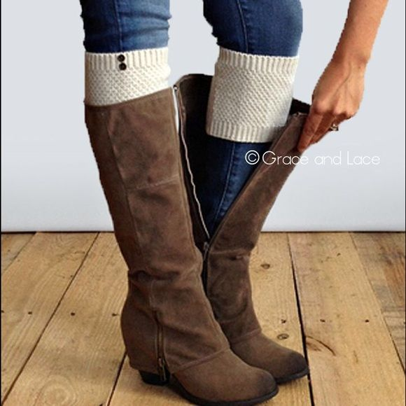 Boot Toppers / Cuffs These are great to wear with boots when you don't what to commit to full boot socks! They look great peaking out of short boots, riding boots, combat boots, and more! Only worn ONCE! Grace and Lace Accessories Hosiery & Socks