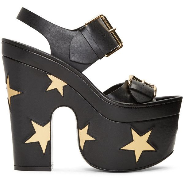 Stella McCartney Black Platform Buckles Stars Sandals (3.985 RON) ❤ liked on Polyvore featuring shoes, sandals, heels, black, stella mccartney, rubber sole shoes, star shoes, stella mccartney sandals, black shoes and buckle shoes