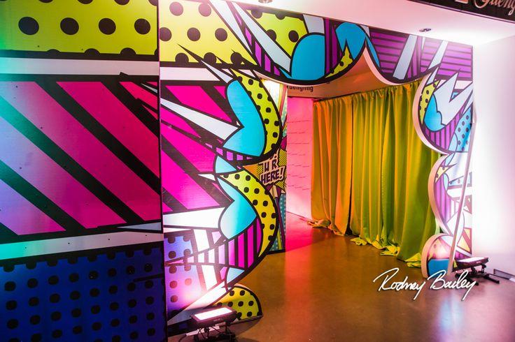 Entrance | Pop Art Party | Sweet Sixteen | Birthday Party | Colorful | Steel Stacks | Pennsylvania | Rodney Bailey Photojournalism | Magnolia Bluebird design & events | Washington D.C.