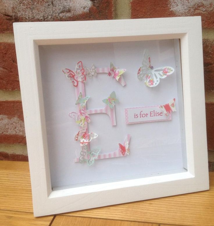 "Personalised Name and Initial Box Frame Picture - a beautiful and unique gift for any occasion. Frame size 6x6"". Made to order. £15 + £4 p&p"