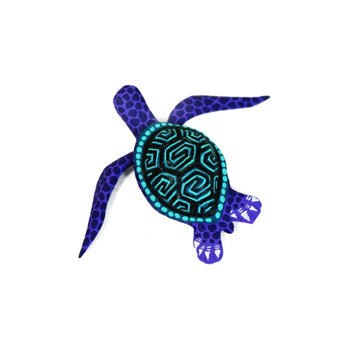 Lavender Little Turtle by Jorge Cruz - Oaxacan woodcarving