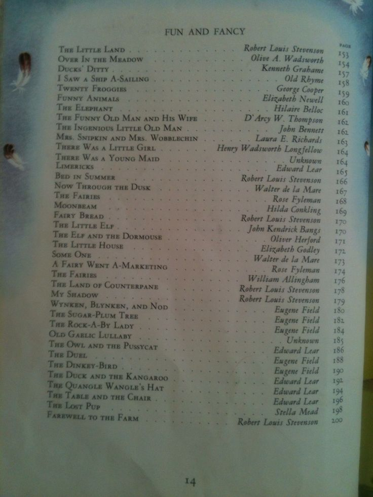 Table of Contents; page, 14 of Childcraft Encyclopedia Volume 1 1961 Edition Out-of-Print Mother Goose and Nursery Rhymes