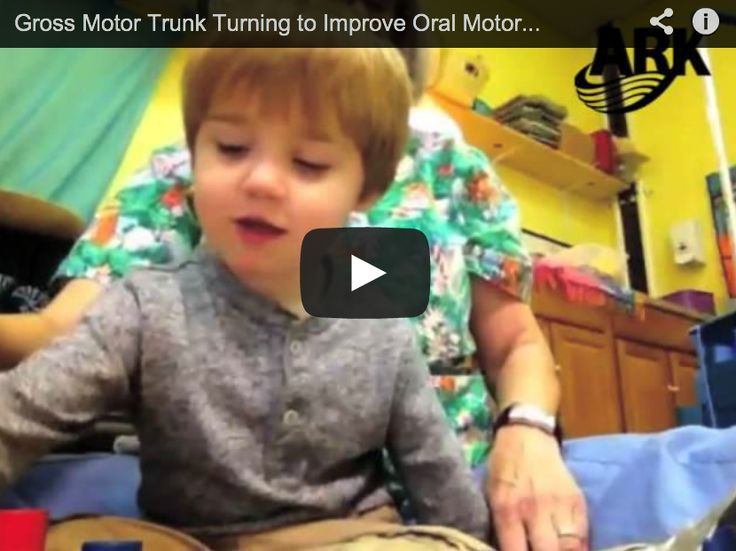 Using Gross Motor for Oral Motor - how trunk turning exercises can improve tongue lateralization http://www.arktherapeutic.com/post/1336