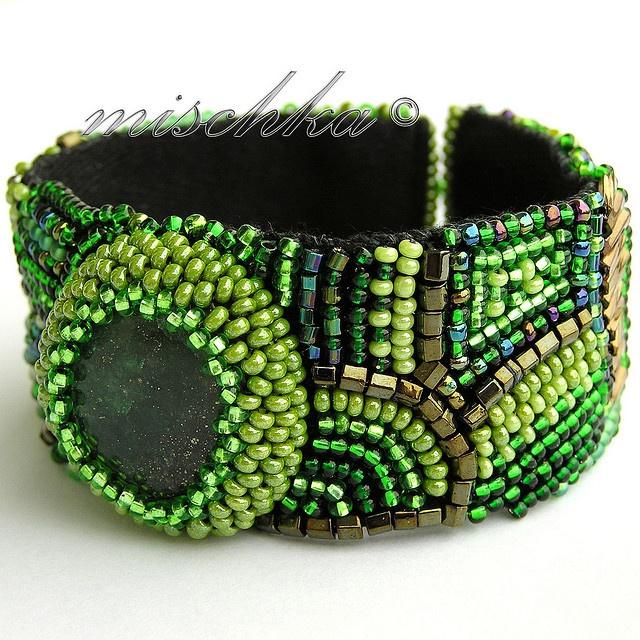 Green beaded cuff