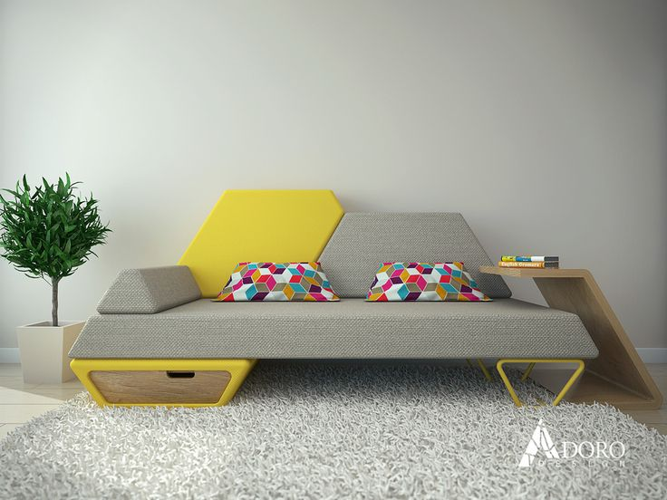 Trapeze shape Pezio sofa by Ventsislav Ivanov Adoro design