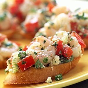 Simple Summer Appetizers   Greek Shrimp Bruschetta   CoastalLiving.com