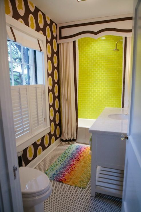 Fun bathroom with Osborne and Little Clarendon Wallpapers Folia. Shower curtain with valance