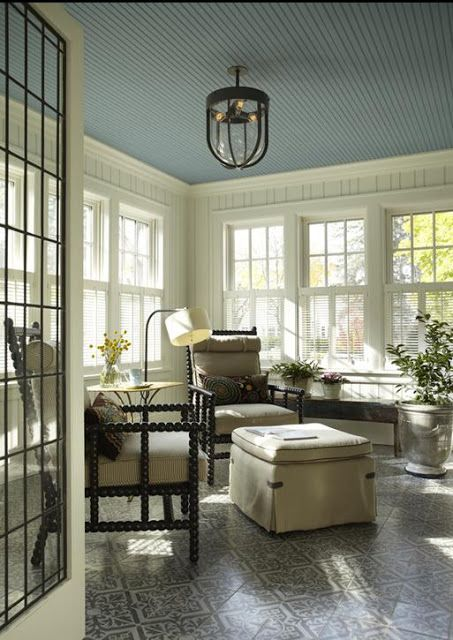 sunroom / sun porch with blue bead board ceiling + stenciled floor