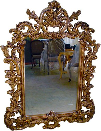 A very detailed mirror frame.