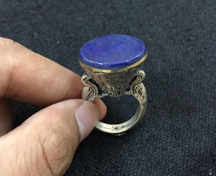 Genuine Vintage Lapis Ring Man Ethnic Bird Engraved Filigree Silver Plated 8.5  | eBay