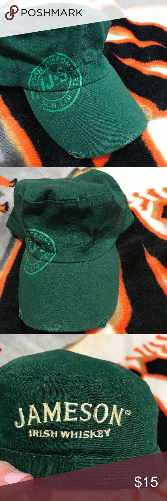 Jameson Irish Whiskey hat Super cute Jameson Irish Whiskey hat.. only worn once for St Patrick's Day.. super comfy and has an elastic band to help with fit.. came with the tears on the bill of the hat for a worn look..comes from a smoke free home Accessories Hats
