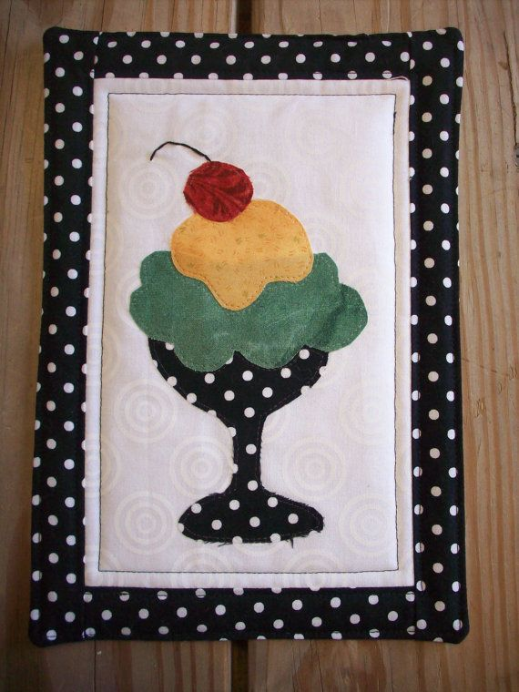 "ice cream Mug Rug, measures 7"" X 10"" Available on Etsy by HomespunSpools"