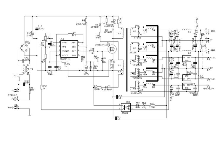 2x100v 500w audio amplifier smps power supply switchmode uc3844 2x100v smps circuit schematic