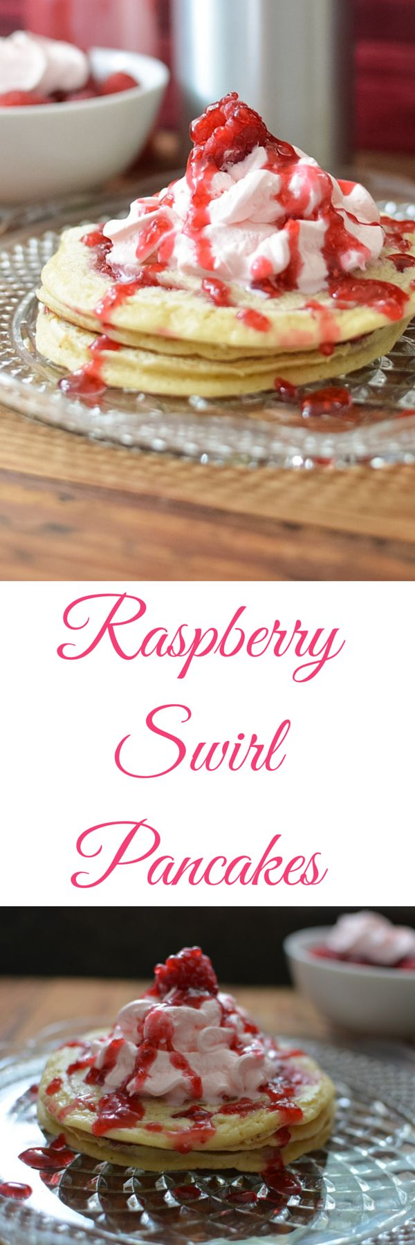 Raspberry Swirl Pancakes with a lightly sweetened raspberry whip cream topping.  With a swirl of a homemade raspberry syrup these raspberry pancakes are a fruit lovers dream pancake.  Not your ordinary pancake recipe these pancakes have a swirl of raspberry syrup inside.