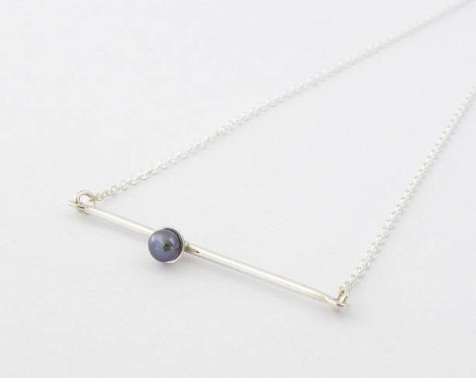 Freshwater pearl necklace-Handmade sterling silver necklace-Minimalist pendant-Contemporary jewelry-Collier argent sterling et perle (scheduled via http://www.tailwindapp.com?utm_source=pinterest&utm_medium=twpin)