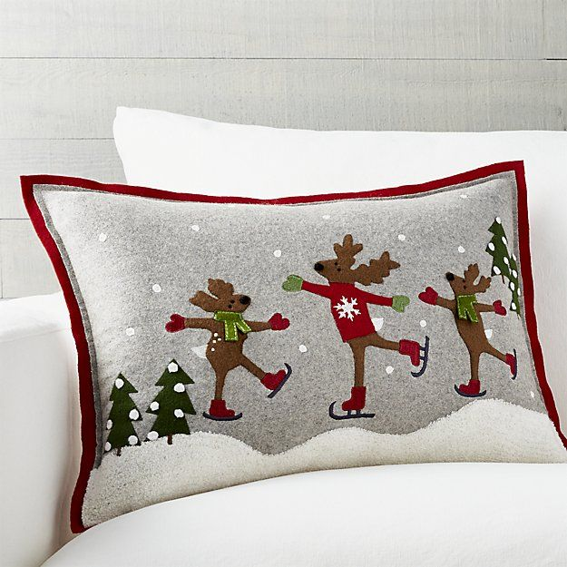 Skating Reindeer 22 Quot X15 Quot Pillow With Down Alternative