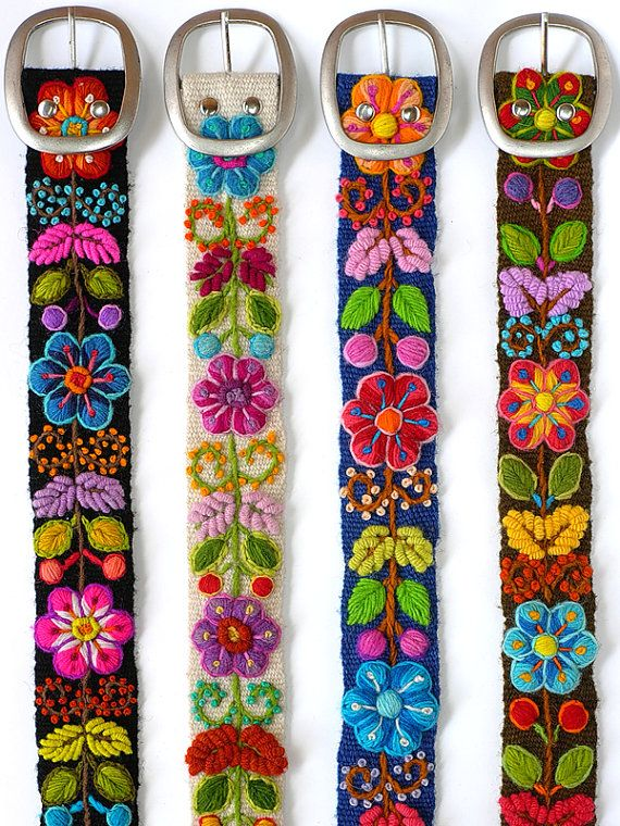 Floral embroidered belt fine, belt ivory, belt black, belt blue, belt brown,belt hand embroidered wool, colorful belts, woman belts
