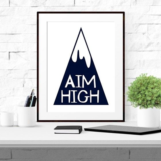 Aim High Inspirational Typographic Printable in Black and White. Modern Instant download available from Sam Osborne at www.printablez.ca