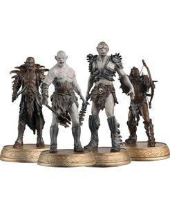 Aproveite, oferta válida por tempo limitado!  A coleção oficial apresenta grandes personagens dos três filmes de O Hobbit. Cada miniatura pintada à mão, representada em uma pose original de um momento clássico em escala 1:25.<br/> <br/> Criado em resina metálica, trajes e armas são reproduzidas com ricos detalhes. Cada miniatura é aprovada oficialmente pela Warner Bros para garantir a autenticidade total.<br/> <br/> Kit com  3 personagens