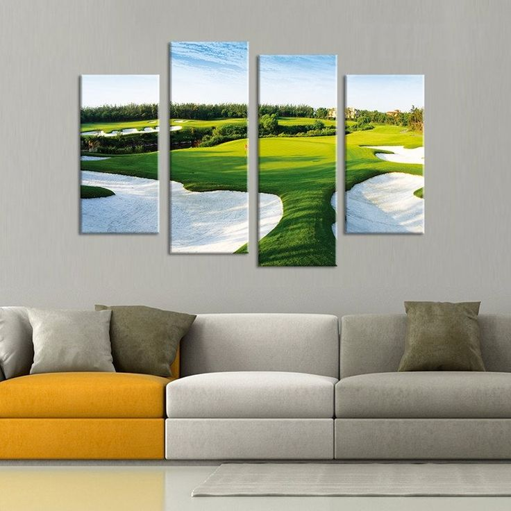 golf course painting 4 piece canvas golf golf painting and acrylics. Black Bedroom Furniture Sets. Home Design Ideas