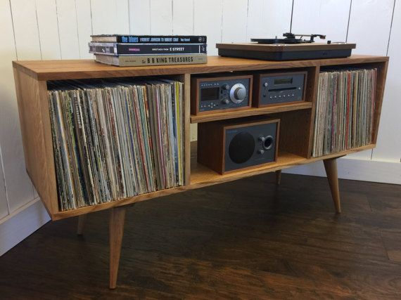 new mid century modern record player console turntable stand stereo cabinet featuring quartersawn white oak