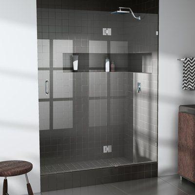 "Glass Warehouse 56.25"" x 78"" Hinged Frameless Shower Door Trim Finish: Brushed Nickel"