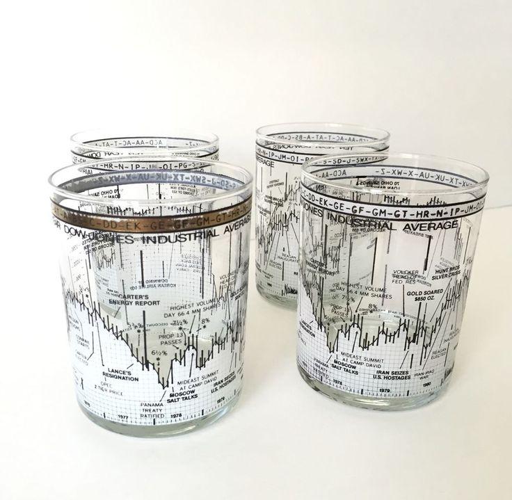 Vtg Mid Century Modern/Hollywood Regency Dow Jones Stock Market Glasses-4 RARE