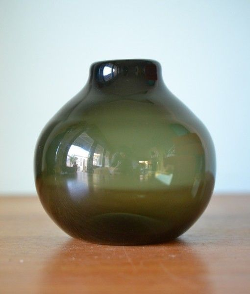 Vintage small Olive green glass vase diplay