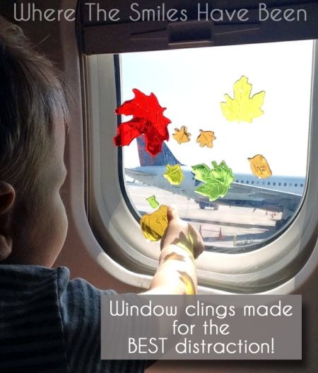 The MOTHERLOAD of Tips for Flying with a Toddler | Where The Smiles Have Been.  TONS of great tips here!!  I love this window cling idea!
