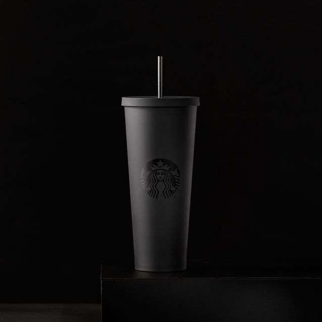 A sturdy, Venti-size plastic Cold Cup in matte black featuring a soft hand feel and reusable straw.