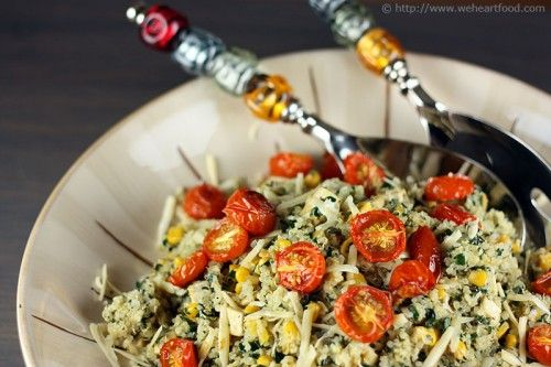 Quinoa with Corn, Kale, and Roasted Cherry Tomatoes: Roasted Tomatoes, Roasted Cherries Tomatoes, Corn Kale, Quinoa Kale, Foodies Salad, Quinoa Corn, Kale Salad, Roasted Cherry Tomatoes, Food Recipe