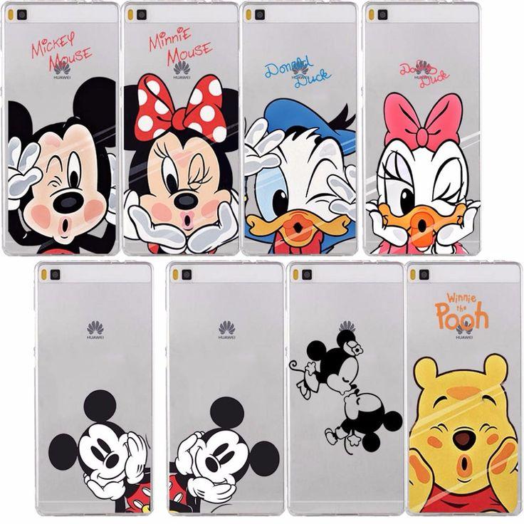 Funny Minnie Mickey Cartoon Unicorn  Transparent Hard Cover Case for Huawei P6 P7 P8 lite p9 Lite case Honor 4X 4C 6 7 G7