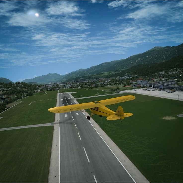 Piper Cub over Innsbruck, Austria (LOWI). A2A + ORBX