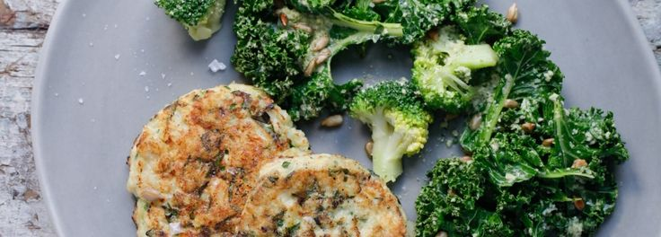 Salmon Burger with Broccoli and Kale