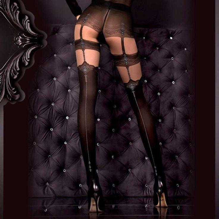 Ballerina Hosiery Morwenna jarretel grijze barok panty zwart/huidskleu