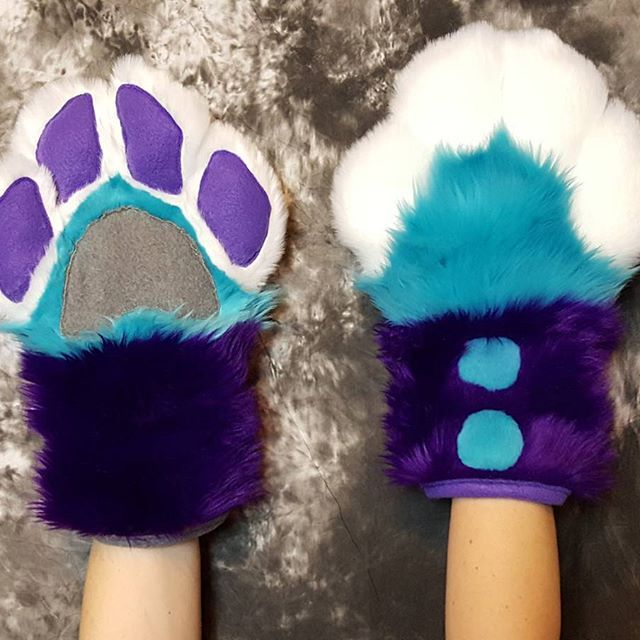 Completed paw commission  #furry #fursuit #paws #commission #monstercatcreations