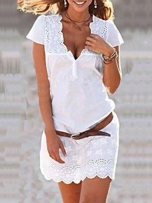 Solid Low Cut Lace Patchwork Mini Dress
