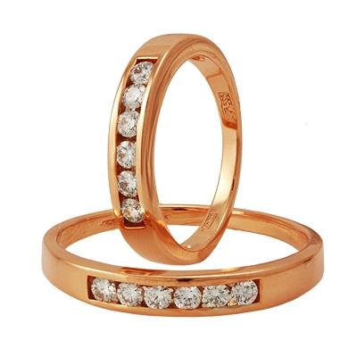 Обручальные кольца из красного золота с бриллиантами, артикул К0152010073 - купить по лучшей цене, описание, характеристики, фотографии