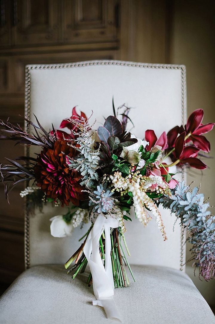 Look at that giant burgundy dahlia! ~ we ❤ this! moncheribridals.com