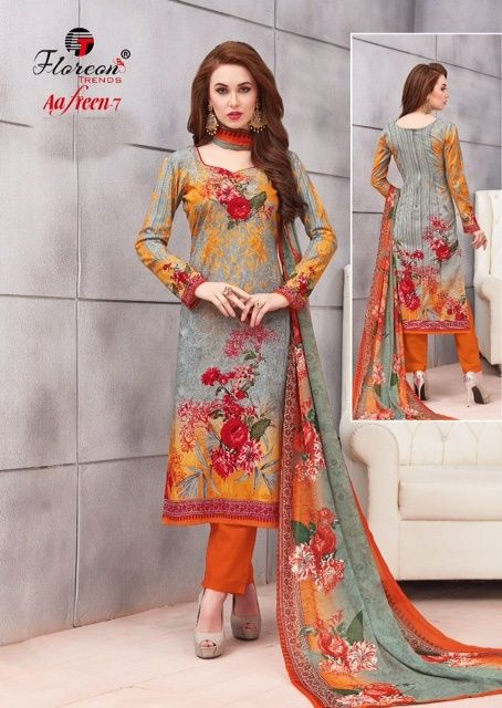 b4ef720e36 Floreon Trendz Aafreen Vol 7 Floral Printed Heavy Glace Cotton Silk Dress  Material Collection at Wholesale Rate
